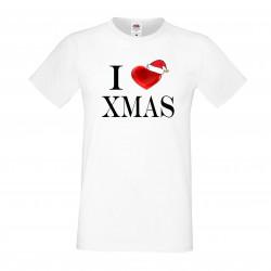 Мъжка тениска Коледа I Love XMAS