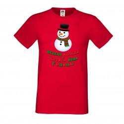 Мъжка тениска Коледа Весела Коледа и честита нова година Snowman