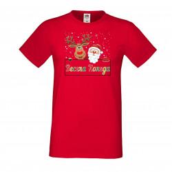 Мъжка тениска Коледа Весела коледа яшарени букви елен дядо коледа + звездички