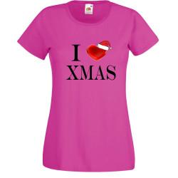 Дамска тениска Коледа I Love XMAS