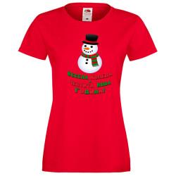 Дамска тениска Коледа Весела Коледа и честита нова година Snowman