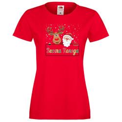 Дамска тениска Коледа Весела коледа шарени букви елен дядо коледа + звездички