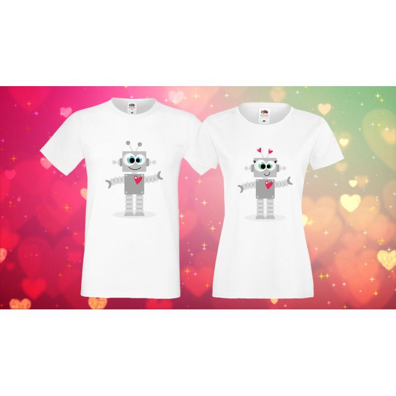 Комплект тениски за влюбени Роботи Robots love couple 1