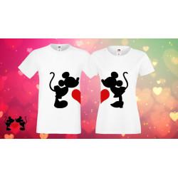 Комплект тениски за влюбени Mickey Minnie mouse heart