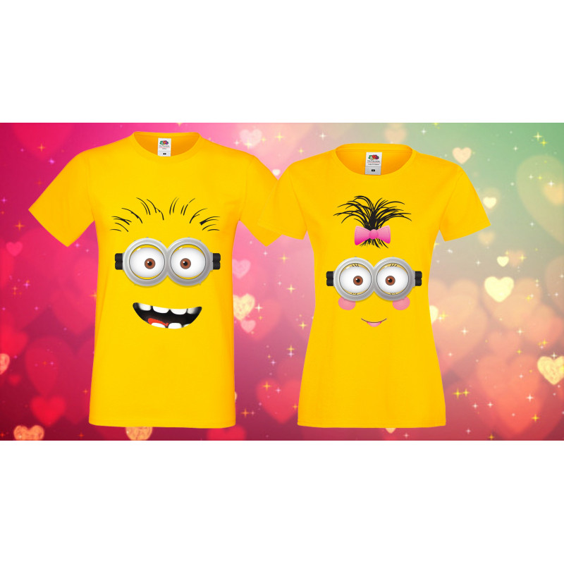 Комплект тениски за влюбени Minions boy and girl face Миньони