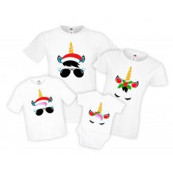 Семеен Коледен комплект тениски Unicorn face