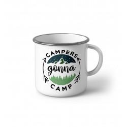 """Метално Емайлирано канче """"Campers gonna camp"""""""