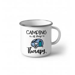 "Метално Емайлирано канче ""Camping is my therapy"""