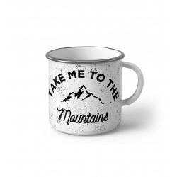"Метално Емайлирано канче "" Take me to the mountains"""