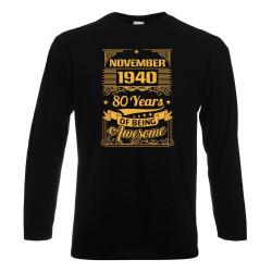 Мъжка тениска NOVEMBER 1940 80 YEARS BEING AWESOME 2