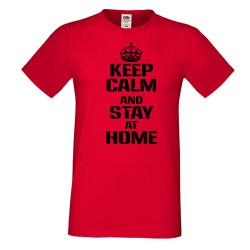 Мъжка тениска Корона вирус Keep Calm and Stay at Home 015