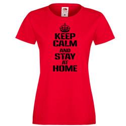 Дамска тениска Корона вирус Keep Calm and Stay at Home 015
