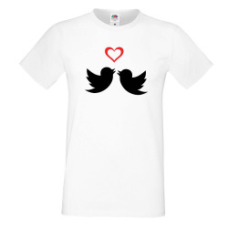 Мъжка тениска Свети Валентин Birds Hearts 2