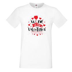 Мъжка тениска Свети Валентин Wine is my Valentine