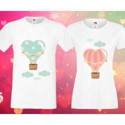 Комплект тениски за влюбени Love heart baloons