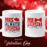 Комплект чаши за влюбени Mr Right Mrs Always right Свети Валентин