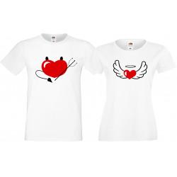 Angel and Devil Ангел и Дявол Комплект тениски за влюбени