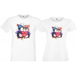 Влюбени пингвини Комплект тениски за влюбени