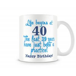 "Чаша ""Life begins at 40 Happy Birthday blue"""