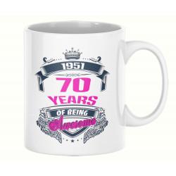 Чаша 70 years of being awesome 1951 PINK MUG