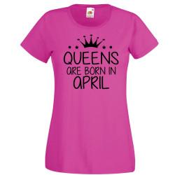 Дамска тениска с къс ръкав Queens are born in April