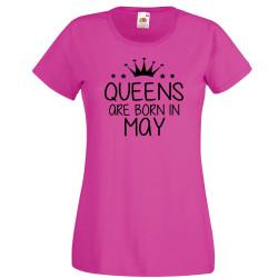 Дамска тениска с къс ръкав Queens are born in May