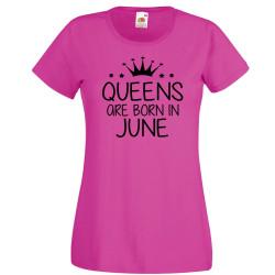 Дамска тениска с къс ръкав Queens are born in June