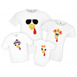 Семеен комплект тениски Turkey Face Thanksgiving Mommy Daddy Brother Sister Baby
