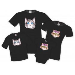 Семеен комплект тениски Watercolor Cats 1 Mommy Daddy Brother Sister Baby