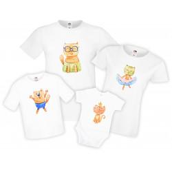 Семеен комплект тениски Watercolor Cats 2 Mommy Daddy Brother Sister Baby