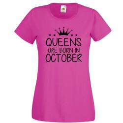 Дамска тениска с къс ръкав Queens are born in October