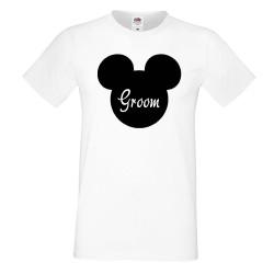 Мъжка тениска за ергенско парти GROOM Disney 02