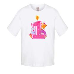 Бебешка тениска Рожден ден First Birthday candle Animals