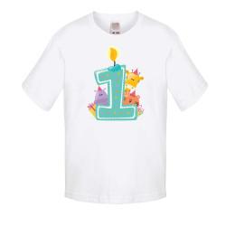 Детска тениска Рожден ден First Birthday candle Animals blue