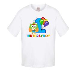 Детска тениска Рожден ден birthday boy 1 owl