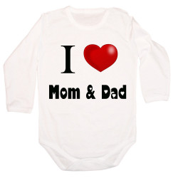 Бебешко боди I Love Mom and Dad 1